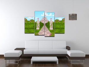 Romantic Castle Landscape 4 Split Panel Canvas - Canvas Art Rocks - 3