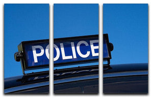 Rooftop sign on a vintage british police car 3 Split Panel Canvas Print - Canvas Art Rocks - 1