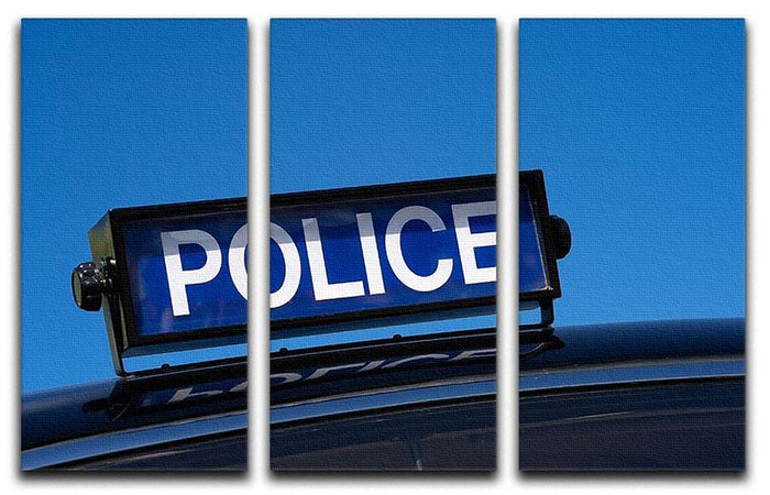 Rooftop sign on a vintage british police car 3 Split Panel Canvas Print
