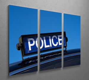 Rooftop sign on a vintage british police car 3 Split Panel Canvas Print - Canvas Art Rocks - 2