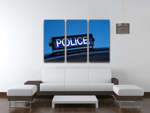 Rooftop sign on a vintage british police car 3 Split Panel Canvas Print - Canvas Art Rocks - 3