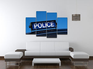 Rooftop sign on a vintage british police car 4 Split Panel Canvas  - Canvas Art Rocks - 3