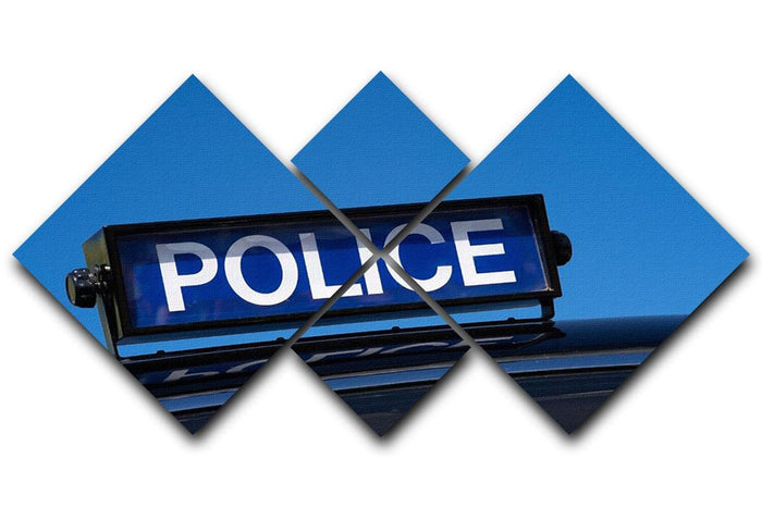 Rooftop sign on a vintage british police car 4 Square Multi Panel Canvas