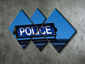 Rooftop sign on a vintage british police car 4 Square Multi Panel Canvas  - Canvas Art Rocks - 2