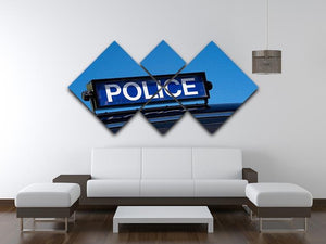 Rooftop sign on a vintage british police car 4 Square Multi Panel Canvas  - Canvas Art Rocks - 3