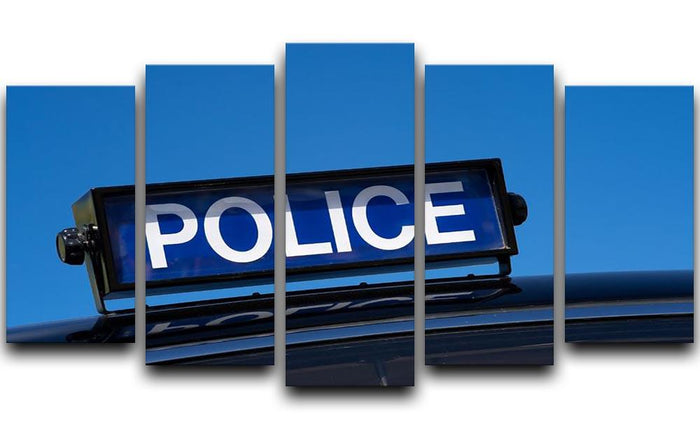 Rooftop sign on a vintage british police car 5 Split Panel Canvas