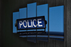 Rooftop sign on a vintage british police car 5 Split Panel Canvas  - Canvas Art Rocks - 2