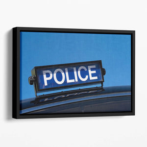 Rooftop sign on a vintage british police car Floating Framed Canvas