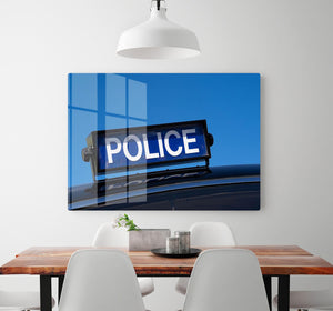 Rooftop sign on a vintage british police car HD Metal Print