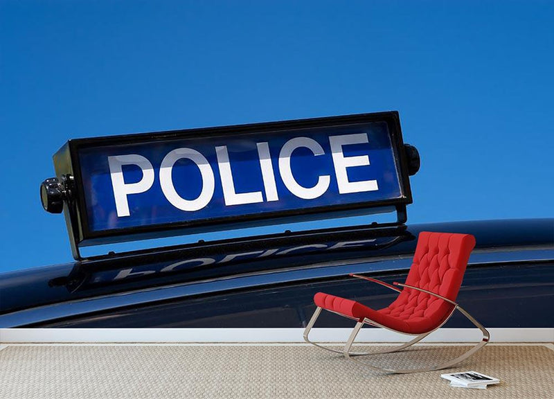 Rooftop sign on a vintage british police car Wall Mural Wallpaper - Canvas Art Rocks - 1