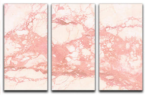 Rose Gold Marble 3 Split Panel Canvas Print - Canvas Art Rocks - 1