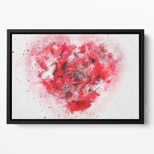 Rose Heart Painting Floating Framed Canvas