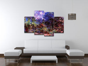 Roses at the garden side of Monets house in Giverny by Monet 4 Split Panel Canvas - Canvas Art Rocks - 3