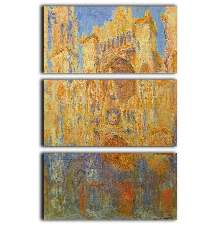 Rouen Cathedral Facade at Sunset by Monet 3 Split Panel Canvas Print