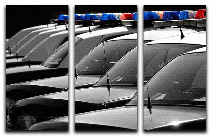 Row of Police Cars with Blue and Red Lights 3 Split Panel Canvas Print