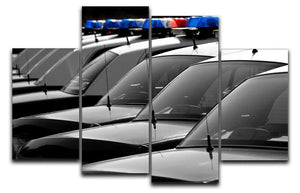 Row of Police Cars with Blue and Red Lights 4 Split Panel Canvas  - Canvas Art Rocks - 1