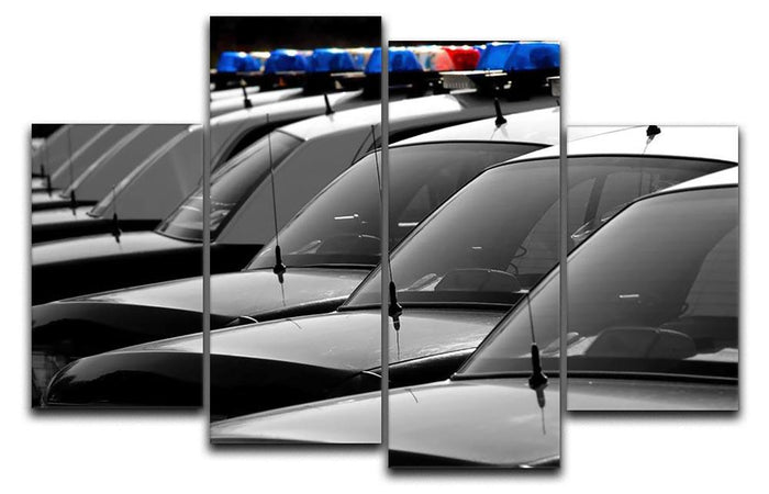 Row of Police Cars with Blue and Red Lights 4 Split Panel Canvas