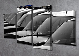 Row of Police Cars with Blue and Red Lights 4 Split Panel Canvas  - Canvas Art Rocks - 2