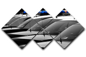 Row of Police Cars with Blue and Red Lights 4 Square Multi Panel Canvas  - Canvas Art Rocks - 1