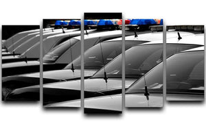 Row of Police Cars with Blue and Red Lights 5 Split Panel Canvas  - Canvas Art Rocks - 1