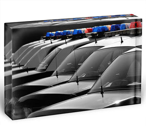 Row of Police Cars with Blue and Red Lights Acrylic Block - Canvas Art Rocks - 1