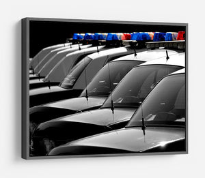 Row of Police Cars with Blue and Red Lights HD Metal Print