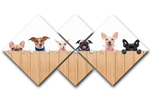 Row of dogs as a group or team all hungry 4 Square Multi Panel Canvas - Canvas Art Rocks - 1