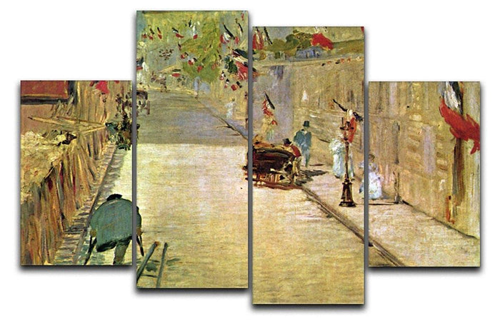 Rue Mosnier with Flags by Manet 4 Split Panel Canvas