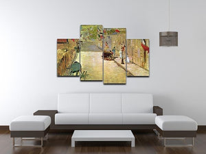 Rue Mosnier with Flags by Manet 4 Split Panel Canvas - Canvas Art Rocks - 3