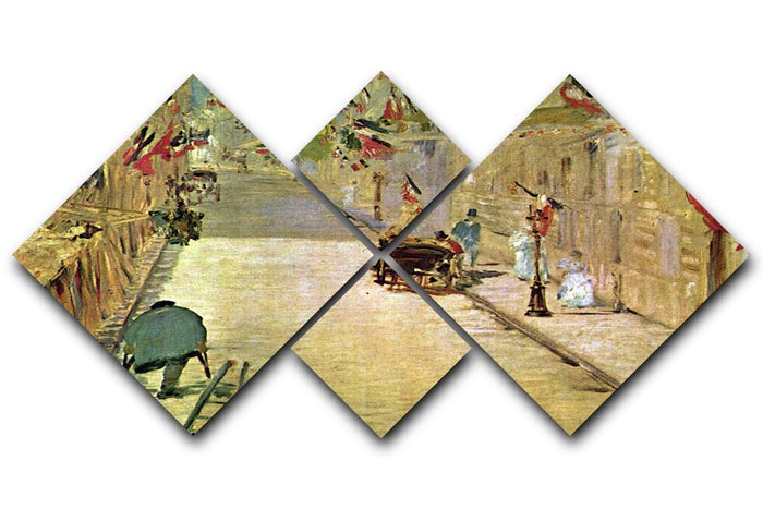 Rue Mosnier with Flags by Manet 4 Square Multi Panel Canvas