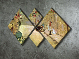 Rue Mosnier with Flags by Manet 4 Square Multi Panel Canvas - Canvas Art Rocks - 2