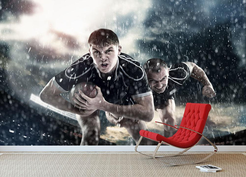 Rugby players running in the rain Wall Mural Wallpaper - Canvas Art Rocks - 1