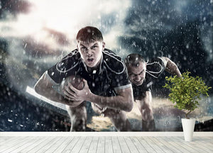 Rugby players running in the rain Wall Mural Wallpaper - Canvas Art Rocks - 4