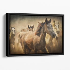 Running Horses Floating Framed Canvas