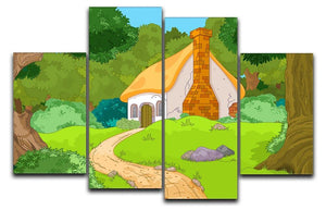 Rural Cartoon Forest Cabin Landscape 4 Split Panel Canvas  - Canvas Art Rocks - 1