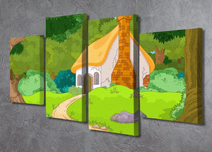 Rural Cartoon Forest Cabin Landscape 4 Split Panel Canvas - Canvas Art Rocks - 2