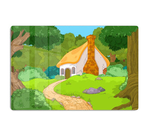 Rural Cartoon Forest Cabin Landscape HD Metal Print