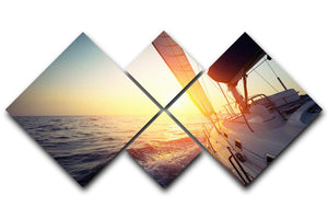 Sail boat gliding 4 Square Multi Panel Canvas  - Canvas Art Rocks - 1