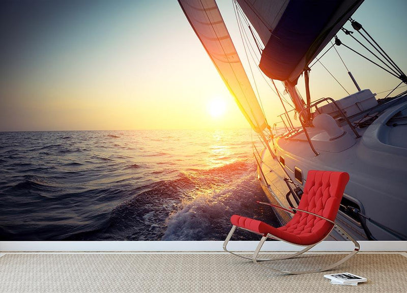 Sail boat gliding Wall Mural Wallpaper - Canvas Art Rocks - 1