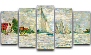 Sailboats regatta in Argenteuil by Monet 5 Split Panel Canvas  - Canvas Art Rocks - 1