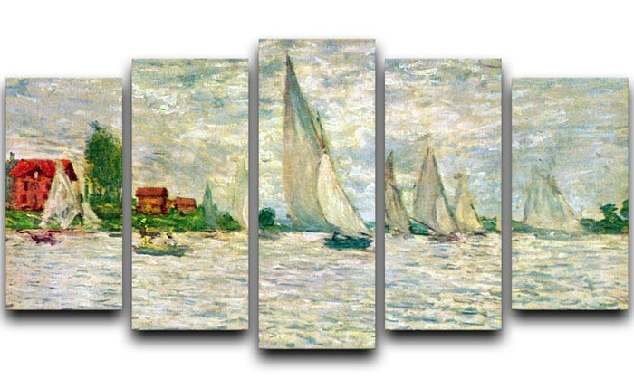 Sailboats regatta in Argenteuil by Monet 5 Split Panel Canvas