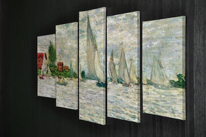 Sailboats regatta in Argenteuil by Monet 5 Split Panel Canvas - Canvas Art Rocks - 2
