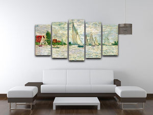 Sailboats regatta in Argenteuil by Monet 5 Split Panel Canvas - Canvas Art Rocks - 3
