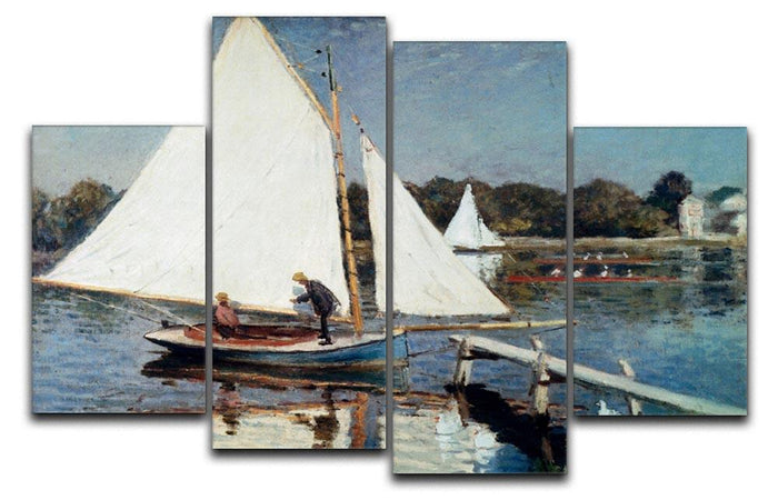 Sailing At Argenteuil 2 by Monet 4 Split Panel Canvas