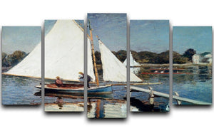 Sailing At Argenteuil 2 by Monet 5 Split Panel Canvas  - Canvas Art Rocks - 1