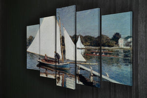 Sailing At Argenteuil 2 by Monet 5 Split Panel Canvas - Canvas Art Rocks - 2