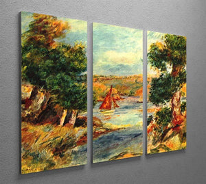 Sailing boats in Cagnes by Renoir 3 Split Panel Canvas Print - Canvas Art Rocks - 2
