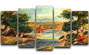 Sailing boats in Cagnes by Renoir 5 Split Panel Canvas  - Canvas Art Rocks - 1