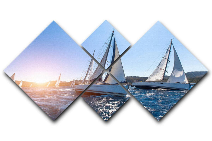 Sailing in the wind through the waves at the Sea 4 Square Multi Panel Canvas