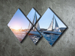 Sailing in the wind through the waves at the Sea 4 Square Multi Panel Canvas  - Canvas Art Rocks - 2